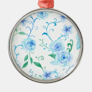 Watercolor Blue Rose Pattern Metal Ornament