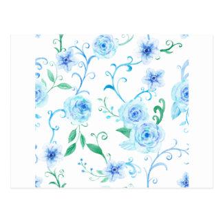Watercolor Blue Rose Pattern Postcard