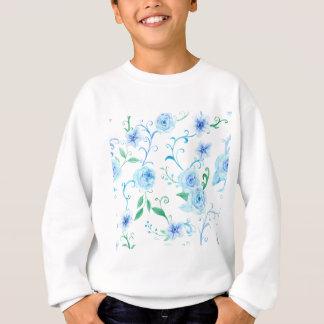 Watercolor Blue Rose Pattern Sweatshirt