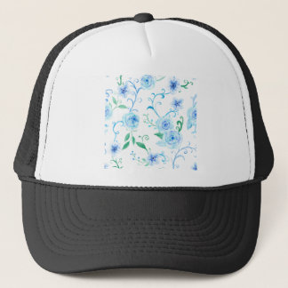 Watercolor Blue Rose Pattern Trucker Hat