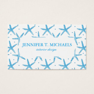 Watercolor Blue Sea Stars Pattern Business Card