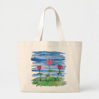 Watercolor Blue Sky Hearts Large Tote Bag