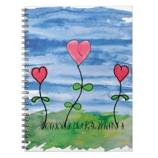 Watercolor Blue Sky Hearts Spiral Notebook