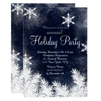 Watercolor blue snowflake winter corporate holiday card