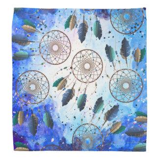 Watercolor Blue Space Nebula Tan Dream Catchers Bandana