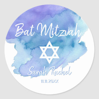 Watercolor Blue Star of David Bat Bar Mitzvah Classic Round Sticker