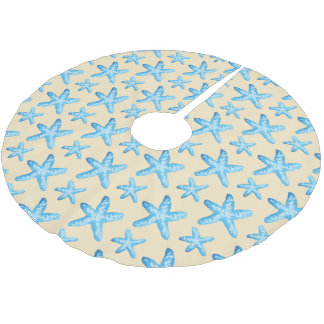 Watercolor Blue Starfish Pattern Brushed Polyester Tree Skirt