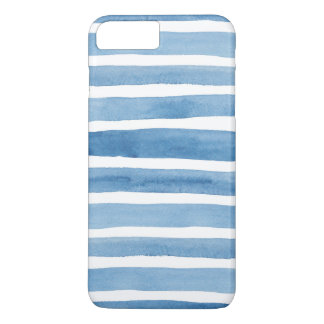 Watercolor blue stripes. Modern case. Nautical iPhone 8 Plus/7 Plus Case