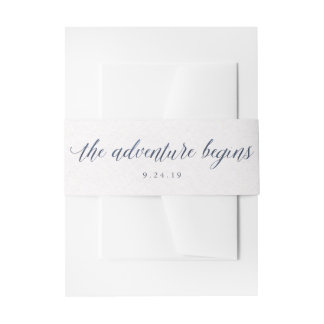 Watercolor Blue Text The Adventure Begins Wedding Invitation Belly Band