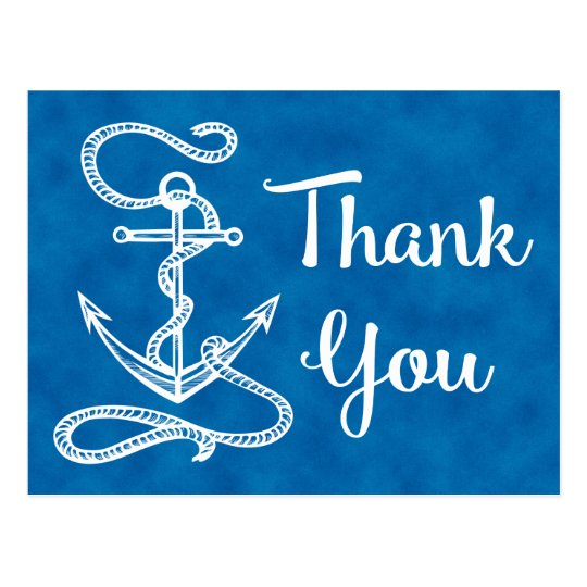 Watercolor Blue Thank You Nautical Ship Anchor Postcard