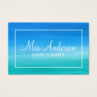 Watercolor Blue Turquoise Teal White Marine Business Card