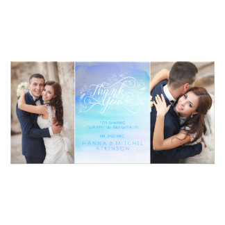 Watercolor Blue Typography Wedding Thank You Photo Greeting Card