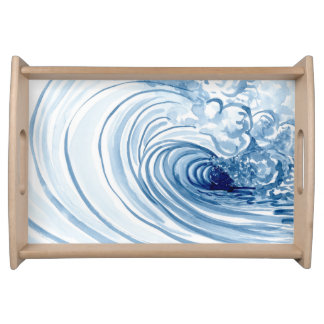 Watercolor Blue Wave Contemporary Modern Decor Food Trays