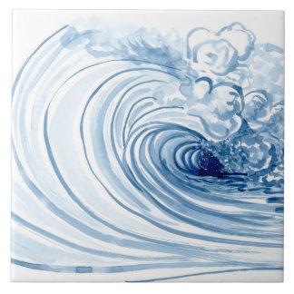 Watercolor Blue Wave Contemporary Modern Decor Tile