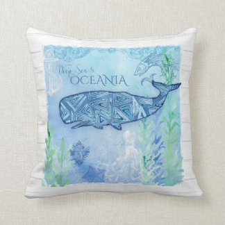 Watercolor Blue Whale Beach Octopus Starfish Decor Throw Pillow
