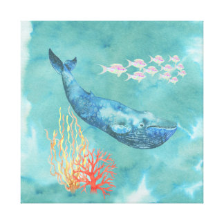 Watercolor Blue Whale ID368 Canvas Print