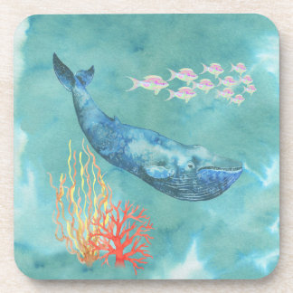 Watercolor Blue Whale ID368 Coaster