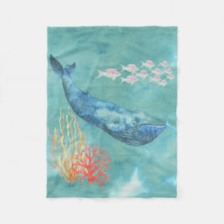 Watercolor Blue Whale ID368 Fleece Blanket