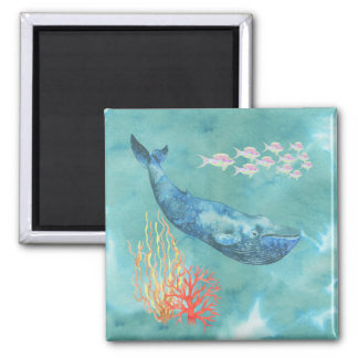 Watercolor Blue Whale ID368 Magnet