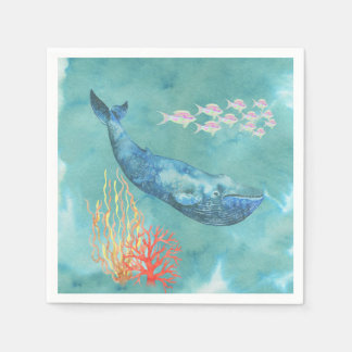 Watercolor Blue Whale ID368 Paper Napkin