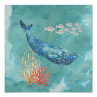 Watercolor Blue Whale ID368 Poster