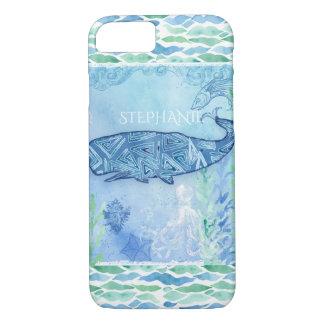 Watercolor Blue Whale Ocean Modern Beach Octopus iPhone 8/7 Case