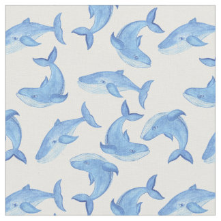 Watercolor Blue Whale Pattern 3 Fabric