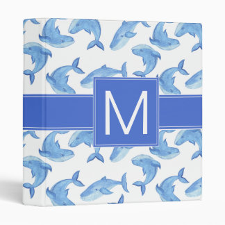 Watercolor Blue Whale Pattern 3 Ring Binder