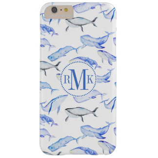 Watercolor Blue Whale Pattern Barely There iPhone 6 Plus Case