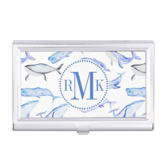Watercolor Blue Whale Pattern Business Card Holder