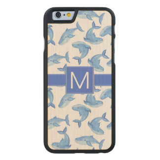 Watercolor Blue Whale Pattern Carved Maple iPhone 6 Case