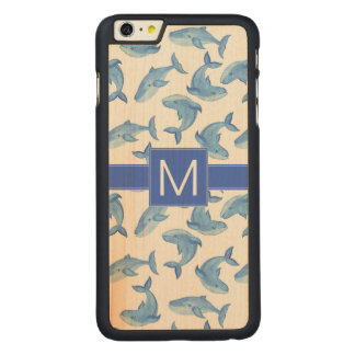 Watercolor Blue Whale Pattern Carved Maple iPhone 6 Plus Case