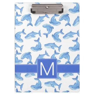 Watercolor Blue Whale Pattern Clipboard