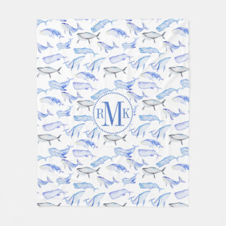 Watercolor Blue Whale Pattern Fleece Blanket