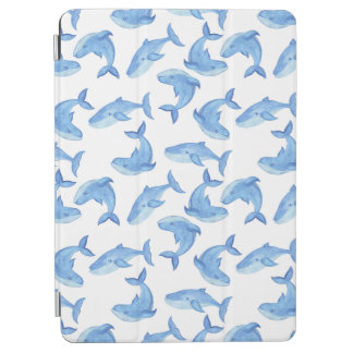 Watercolor Blue Whale Pattern iPad Air Cover
