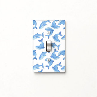 Watercolor Blue Whale Pattern Light Switch Cover