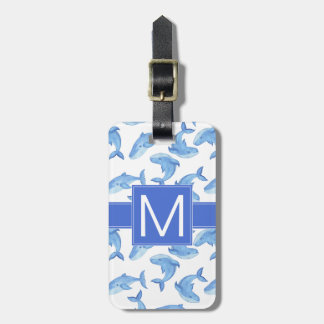 Watercolor Blue Whale Pattern Luggage Tag