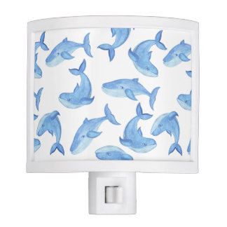 Watercolor Blue Whale Pattern Nite Light