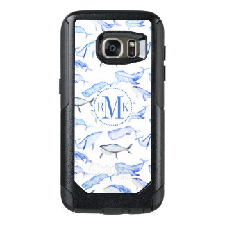 Watercolor Blue Whale Pattern OtterBox Samsung Galaxy S7 Case