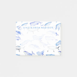 Watercolor Blue Whale Pattern Post-it Notes