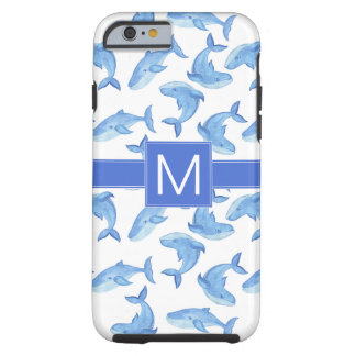 Watercolor Blue Whale Pattern Tough iPhone 6 Case