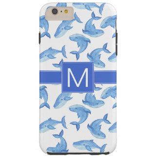 Watercolor Blue Whale Pattern Tough iPhone 6 Plus Case