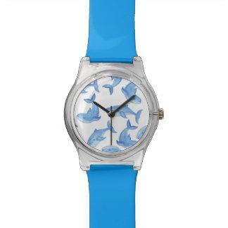 Watercolor Blue Whale Pattern Watch