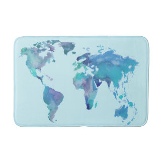 Watercolor Blue World Map Bathroom Mat
