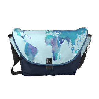 Watercolor Blue World Map Courier Bag