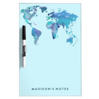 Watercolor Blue World Map Dry Erase Board