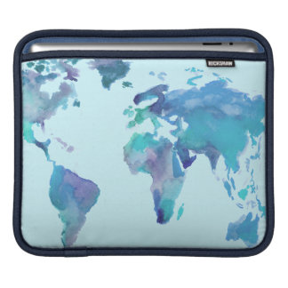 Watercolor Blue World Map iPad Sleeve
