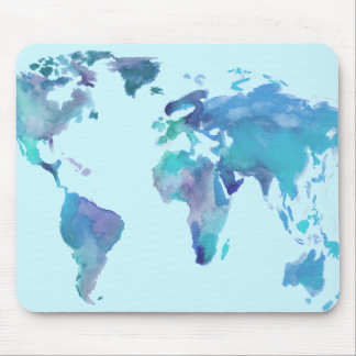 Watercolor Blue World Map Mouse Pad