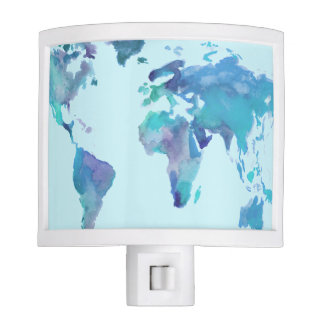 Watercolor Blue World Map Night Lites
