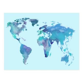 Watercolor Blue World Map Postcard